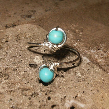 Sterling Silver Turquoise Toe Ring by wrappedandwired on Etsy