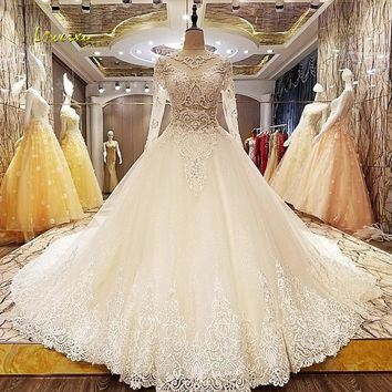 Loverxu Robe De Mariee Sexy Illusion Long Sleeve Wedding Dresses 2017 Appliques Beaded Royal Train A Line Bridal Gown Plus Size