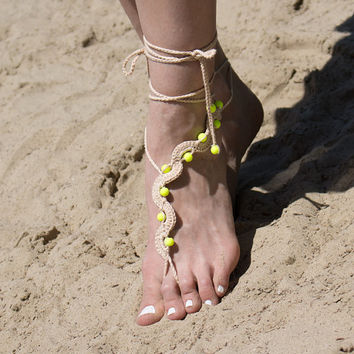 Tan Beach Barefoot Sandles with Neon Yellow Beads, Beaded Destination Wedding Bare Foot Sandals, Hippie Yoga Nude Shoes, Gypsy Toe Thongs