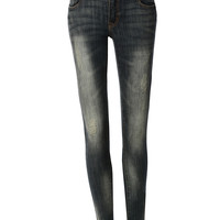 LE3NO Womens Light Distressed Denim Skinny Jean Pants with Pockets