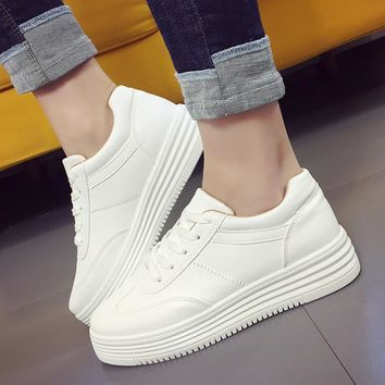 Womens Causal 2018 Hot PU Leather Platform Sneaker Shoes