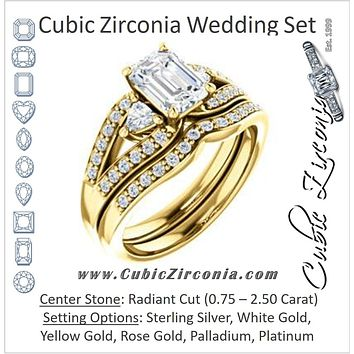 CZ Wedding Set, featuring The Karen engagement ring (Customizable Enhanced 3-stone Design with Radiant Cut Center, Dual Trillion Accents and Wide Pavé-Split Band)