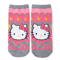 Hello Kitty Geo Pattern Ankle Socks