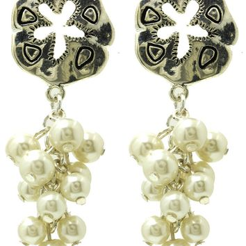 Cream Metal Starfish Pearl Fringe Cluster Earring