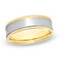 Men's 7.0mm Comfort Fit Concave Wedding Band in 14K Two-Tone Gold - Peoples Jewellers Men's 7.0mm Comfort Fit Concave Wedding Band in 14K Two-Tone Gold - - View All Rings - Peoples Jewellers