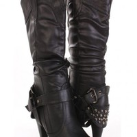 Black Faux Leather Studded Ankle Strap Back Slouchy Cowboy Mid Calf Heel Boots