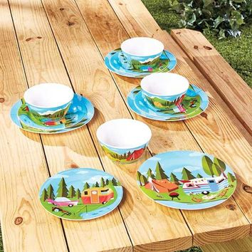 Happy Camper Themed Dinnerware Retro Melamine