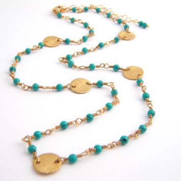 Green Turquoise Strand Necklace, Rosary Style, Wire Wrapped, Teal Green, Gold