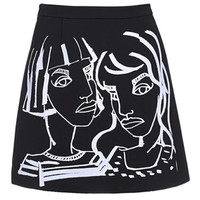 Black Portrait Printed Skirt