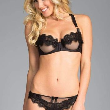 Black T-Strap Bra And Bikini Panty Set