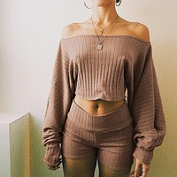 Stylish Casual Knit Tops Crop Top [11942984655]