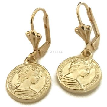 Beautiful Coins Leverback  Earrings 18Kts of Gold Plated