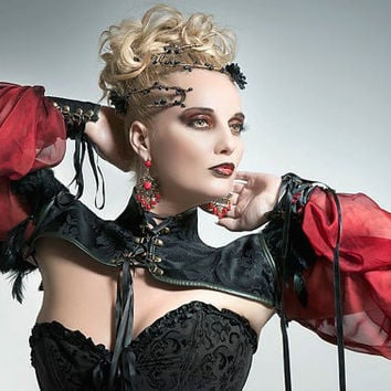 Short jacket in brocade, gauze and feathers - Steampunk, burleske, gothic