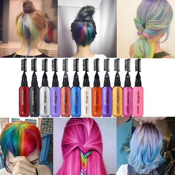 ISHOWTIENDA temporary 13color hair wax Temporary Mascara dye hair styling cream colo Non-toxic DIY Hair Dye Pen pastel chalk