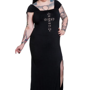 Plus size Queen of Goth Crucifix Black Long Dress by Spin Doctor