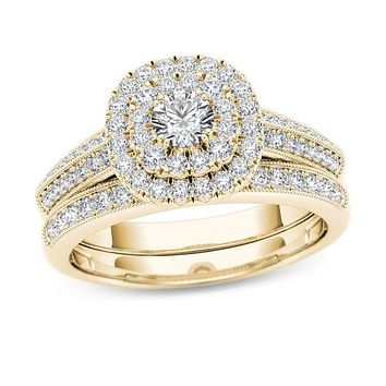 7/8 CT. T.W. Diamond Double Cushion Frame Multi-Row Vintage-Style Bridal Engagement Ring Set in 14K Gold