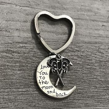 Lacrosse Keychain -  Love You to the Moon and Back
