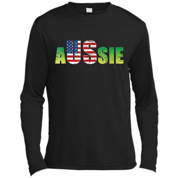 Australia United States  Aussie America Lover Gift Idea Long Sleeve Moisture Absorbing Shirt