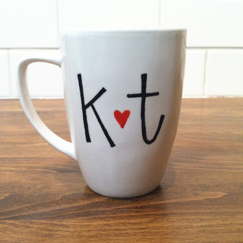 personalized mug / coffee cup , initial heart mug, coffee mug - love