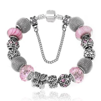 New Fashion Jewelry Natural stone Murano Glass Charms Bracelets & Bangles Butterfly beads fits Pan  Bracelet For Women