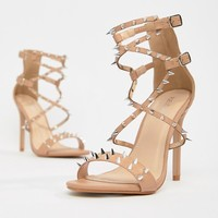 Public Desire Amore blush studded heeled sandal at asos.com