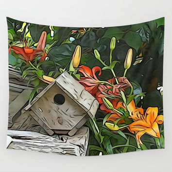 Garden Birdhouse  Wall Tapestry by KCavender Designs