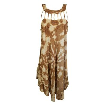 Mogul Womens Tie Dye Brown Tank Dress Embroidered Sleeveless Flare Summer Fashion Hippie Chic Sundress - Walmart.com