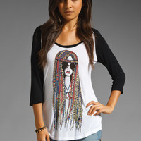 Lauren Moshi Frankie Color Hippie Raglan Tee in White/Black from REVOLVEclothing.com