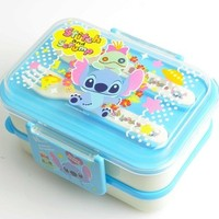 Disney Stitch and Scrump Bento Lunch Box 2 Layers w/ Tableware Blue
