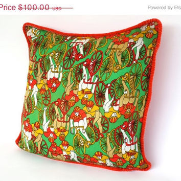 VINTAGE Dead Stock Fabric Pillow . Adorned with Colorful Green . Orange . Yellow 'USA Bicycle Race Team' reverses Blood Orange Soft Velvet