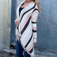 Coral + Brown Fringe Cardigan | The Rage