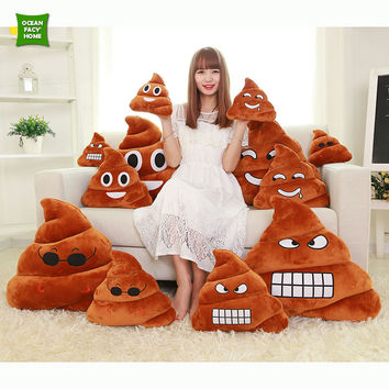 2016 Smiley Face Pillow Emoji Emoticon Cushion Doll Toy Throw Amusing Poo Shape Cushion Christmas Gift Home Decorative Pillow