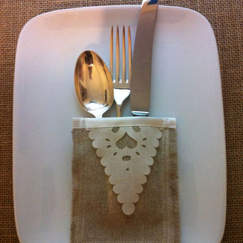 Set of 6 rustic cutlery holders, linen and laser cut hearts, sleeves
