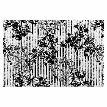 "Victoria Krupp ""Stripes And Flowers"" Black White Digital Decorative Door Mat"