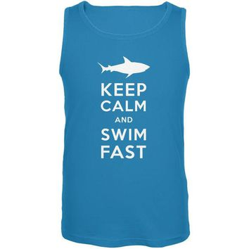 LMFCY8 Shark Keep Calm and Swim Fast Turquoise Adult Tank Top
