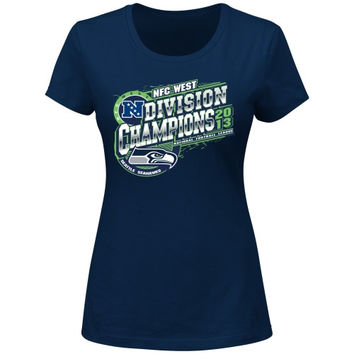 Seattle Seahawks 2013 NFC West Division Champions Ladies T-Shirt - College Navy - http://www.shareasale.com/m-pr.cfm?merchantID=7124&userID=1042934&productID=555857434 / Seattle Seahawks