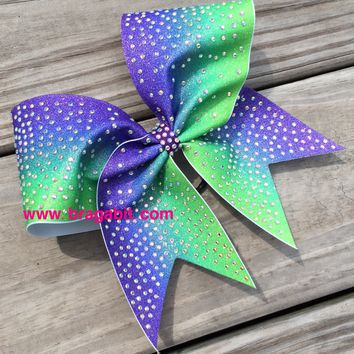 2 color ombre glitter bow with AB rhinestones.