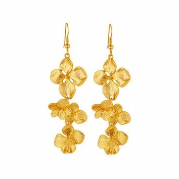 Kenneth Jay Lane Satin-Finished Golden Flower Drop Earrings
