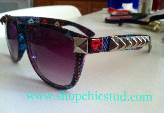 Studded Sunglasses Dark Tribal Aztec Print Gold Studs