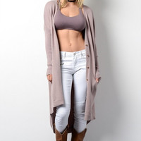 Long Cardigan with Pockets - Mauve