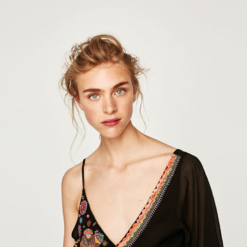 EMBROIDERED ASYMMETRIC BODYSUIT