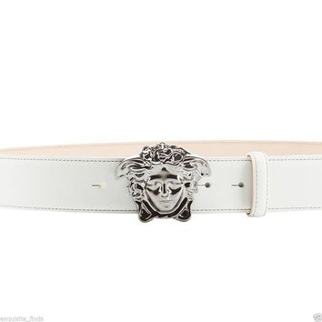 New Versace Optic White Leather 3D Medusa Belt 125/50