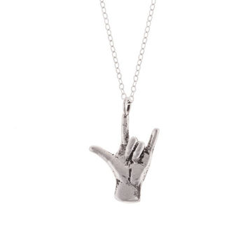 I LOVE YOU necklace    sign language ILU hand in Sterling Silver 9f5887b63b
