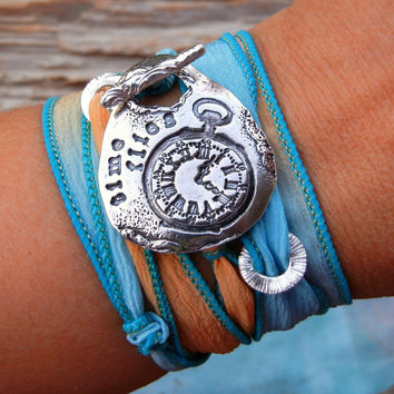 Pocket Watch Jewelry Silk Wrap Bracelet