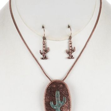 Aged Finish  Cactus  Etched Oval  Two Tone Textured Necklace Earring Set