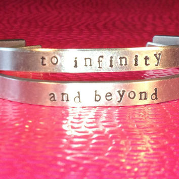 Best Friend Bracelets - To Infinity and Beyond - Hand Stamped Cuff Bracelets - Customizable - BFF Gift - Set Of Two