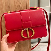 Dior New fashion solid color leather shopping leisure shoulder bag crossbody bag Red