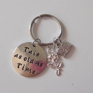 Beauty and the Beast Keychains,Tale as old as Time Key Chains For Personalized Beauty Beast Lover Gifts