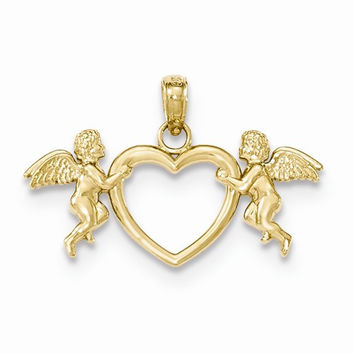 14k Yellow Gold Flying Cherubs Heart Pendant