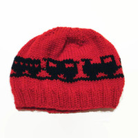 3-6 Month Baby Beanie Red Black Trains